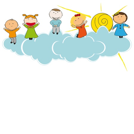 kids drawing: Happy and cute girls and boys in sky with clouds Illustration