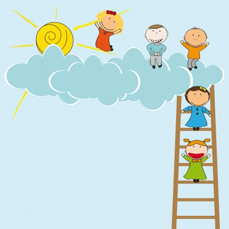 Happy and cute girls and boys with clouds Vector