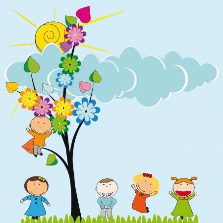 幸せとかわいい女の子と男の子の庭  イラスト・ベクター素材