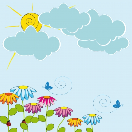 hollidays: Cute card with funny flowers and sun shine Illustration