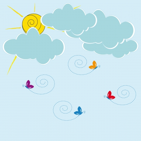 hollidays: Cute card with clouds and sun shine