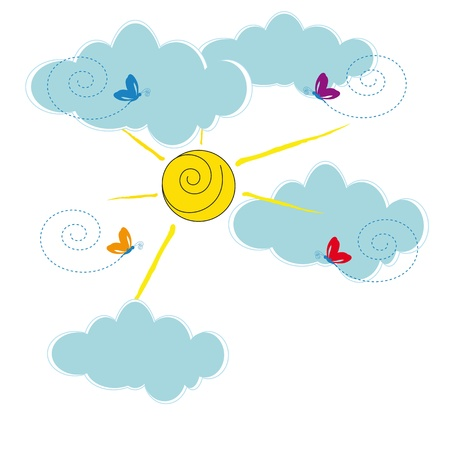 Cute card with clouds and sun shine Stock Vector - 19594728