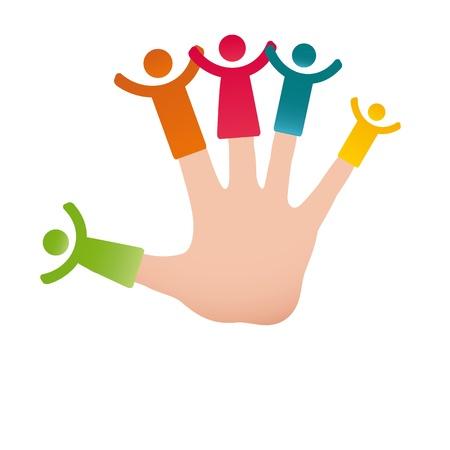 Pictogramme montrant figures famille heureuse sur les doigts de la main