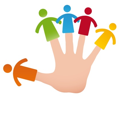 doughter: Pictogram showing figures happy family on hand fingers