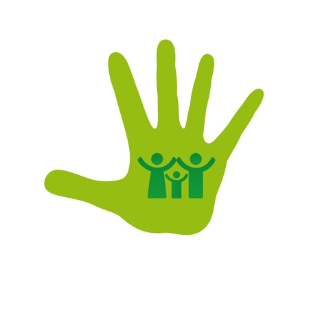 mother earth: Pictogram showing figures happy green family Illustration