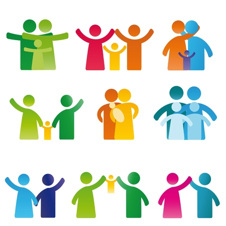 familias unidas: Simple y colorido que muestra pictograma figura familia feliz