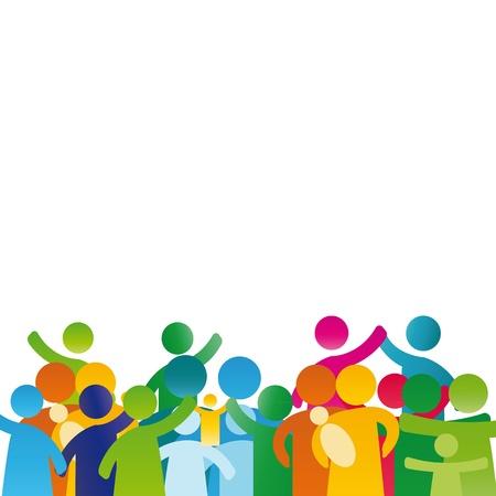 sociedade: Fundo com pictograma mostrando figuras família feliz