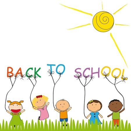 幸せな、かわいい子供たちが学校に戻る  イラスト・ベクター素材