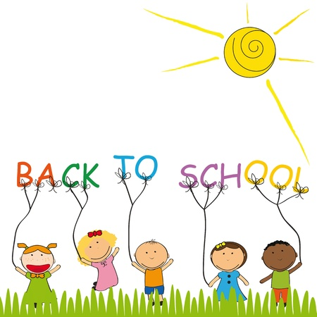 ni�os jugando en la escuela: Feliz y lindo ni�os de nuevo a la escuela