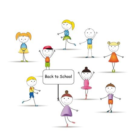 nursery school: Happy and cute kids back to school