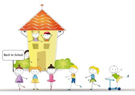 preescolar: Feliz y lindo niños de nuevo a la escuela