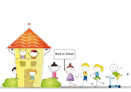 幸せとかわいい子供たちが学校に戻る
