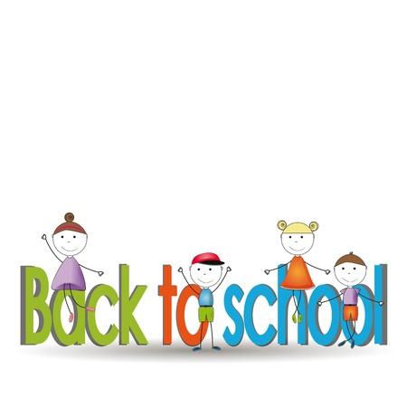 ilustraciones niños: Feliz y lindo niños de nuevo a la escuela
