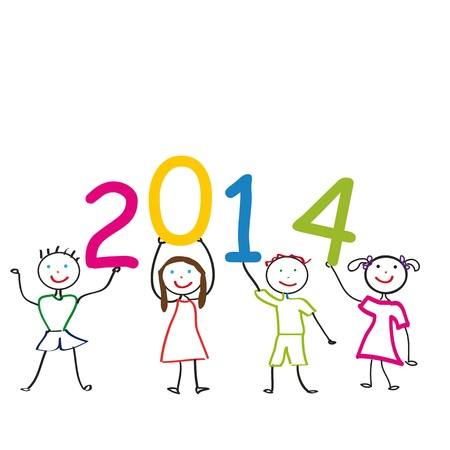 Cute and colorful card 2014 with happy kids Stock Vector - 20734575