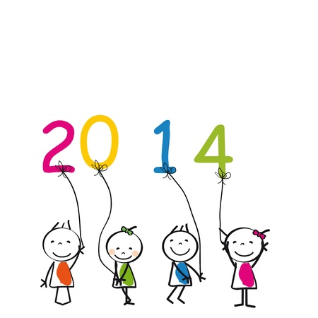 Cute and colorful card 2014 with happy kids Vector