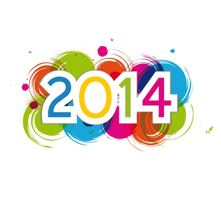 Cute and colorful card New Year 2014
