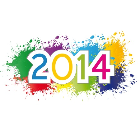 Cute and colorful card New Year 2014 Stock Vector - 20734580