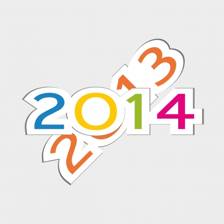 Cute and colorful card New Year 2014 Stock Vector - 20734581