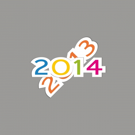 Cute and colorful card New Year 2014 Stock Vector - 20734582