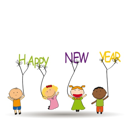 Cute and colorful card New Year 2014 Vector