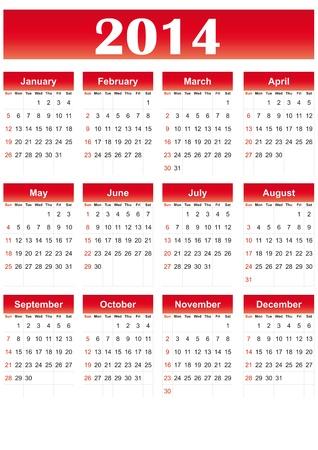 赤い色で 2014 年に簡単なカレンダー