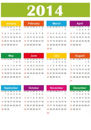 Simple and colorful calendar on 2014 year Vector