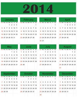 Simple calendar on 2014 year in green color Vector