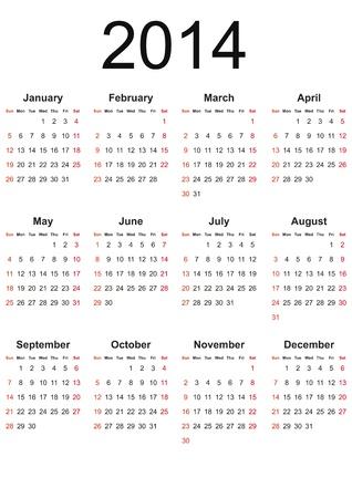 黒の色で 2014 年に簡単なカレンダー