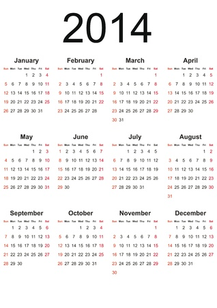 Simple calendar on 2014 year in black color Vector