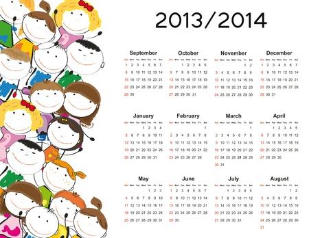 新しい学校の年間 2013年そして 2014 年幸せな子供たちとのシンプルなカレンダー