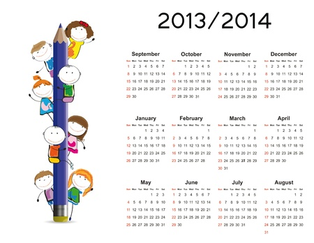 Simple calendar on new school year 2013 and 2014 with happy kids Vector