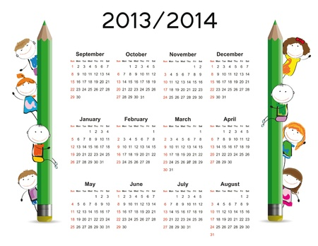 Simple calendar on new school year 2013 and 2014 with happy kids Illustration