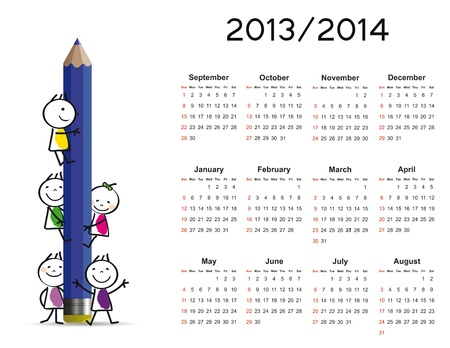 Simple calendar on new school year 2013 and 2014 with happy kids Stock Vector - 20919809