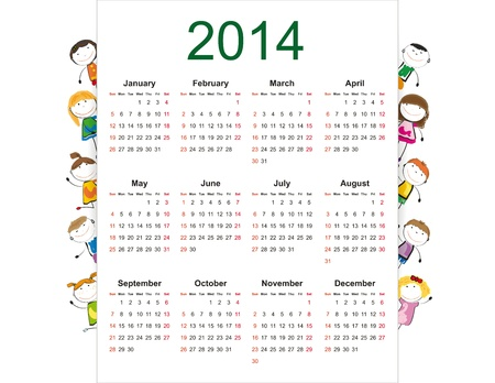 Simple and colorful calendar on 2014 year with happy kids Stock Vector - 20919811