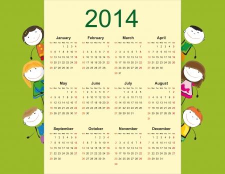 シンプルでカラフルなカレンダー 2014 年幸せな子供の上