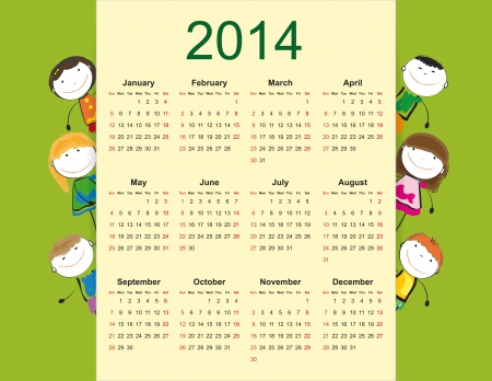 Simple and colorful calendar on 2014 year with happy kids Illustration