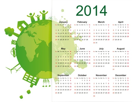 cute and green calendar on 2014 year with globe Stock Vector - 20919833