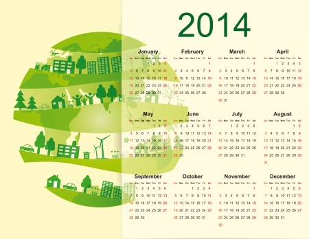 cute and green calendar on 2014 year with globe Stock Vector - 20919836