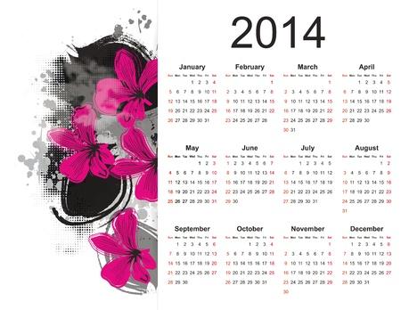 cute calendar on 2014 year with flowers Stock Vector - 20919838