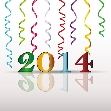 Cute and colorful card on New Year 2014 Stock Vector - 20919840