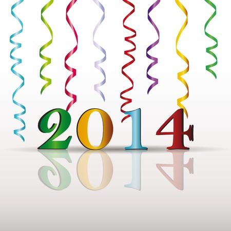 2014 年新年にキュートでカラフルなカード  イラスト・ベクター素材
