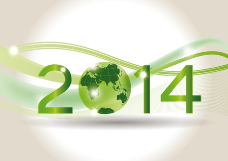 Cute card on 2014 year with green globe