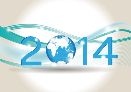 Cute blue card on 2014 year with globe Stock Vector - 20919851
