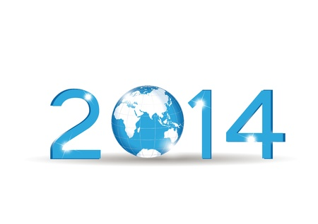 Cute blue card on 2014 year with globe