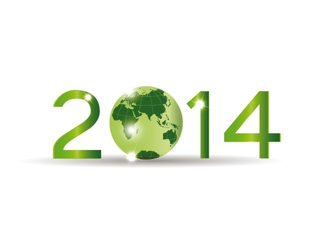 wereldbol groen: Leuke kaart van 2014 jaar met groene bol Stock Illustratie