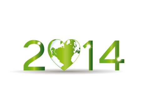 Cute card on 2014 year with green heart Vector
