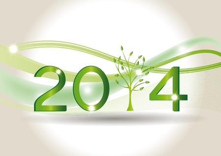 2014 年緑の木にかわいいカード  イラスト・ベクター素材