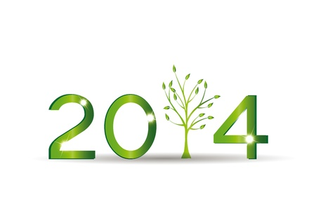 Cute card on 2014 year with green tree Stock Vector - 20919872
