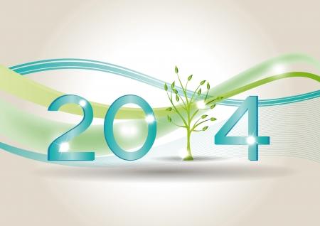 キュートでカラフルなカード新年 2014  イラスト・ベクター素材