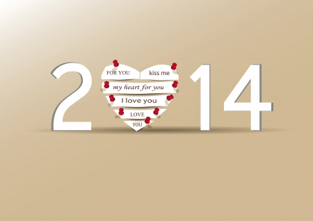 Cute and simple card on New Year 2014 Vector